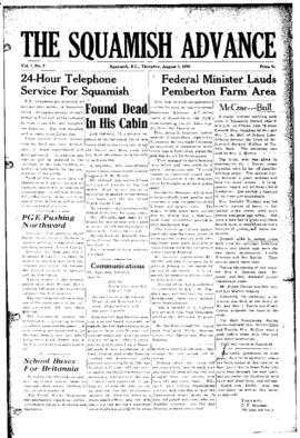 Squamish Advance: Thursday, August 3, 1950