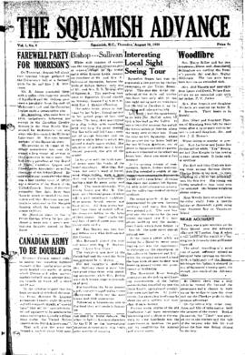 Squamish Advance: Thursday, August 10, 1950