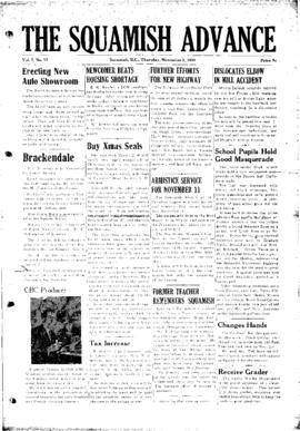 Squamish Advance: Thursday, November 2, 1950