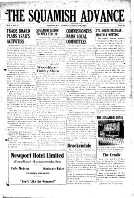 Squamish Advance: Thursday, February 15, 1951
