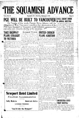 Squamish Advance: Thursday, February 8, 1951