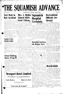 Squamish Advance: Thursday, April 26, 1951