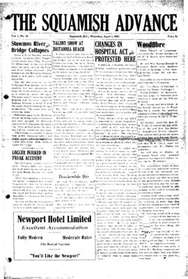 Squamish Advance: Thursday, April 5, 1951