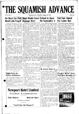 Squamish Advance: Thursday, August 30, 1951
