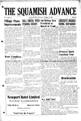 Squamish Advance: Thursday, October 11, 1951