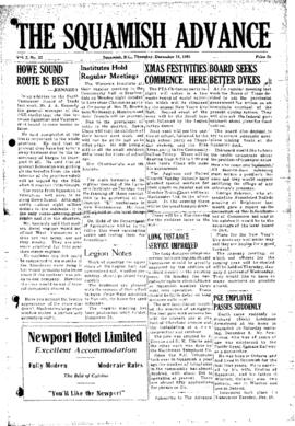 Squamish Advance: Thursday, December 13, 1951