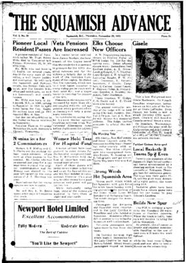 Squamish Advance: Thursday, November 29, 1951