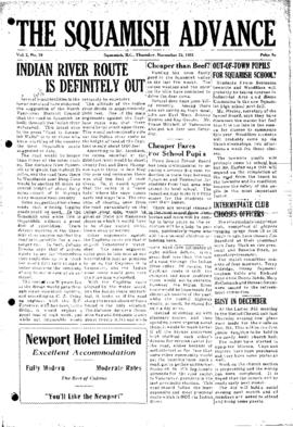 Squamish Advance: Thursday, November 22, 1951