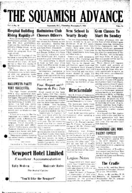 Squamish Advance: Thursday, November 1, 1951