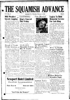 Squamish Advance: Thursday, February 7, 1952