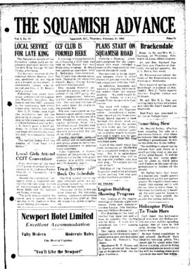 Squamish Advance: Thursday, February 21, 1952