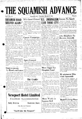 Squamish Advance: Thursday, March 27, 1952