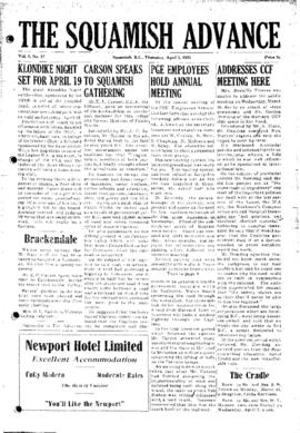 Squamish Advance: Thursday, April 3, 1952