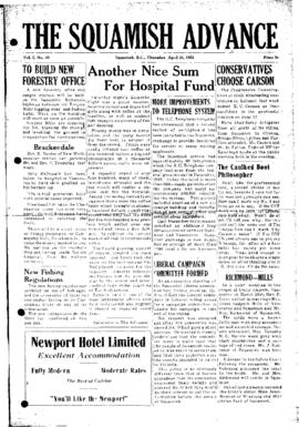 Squamish Advance: Thursday, April 24, 1952