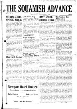Squamish Advance: Thursday, May 8, 1952