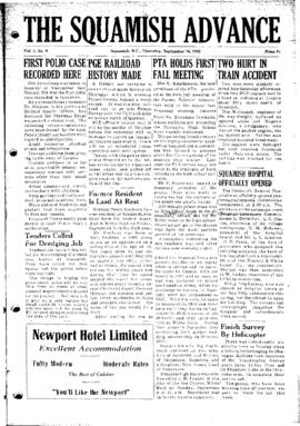 Squamish Advance: Thursday, September 18, 1952