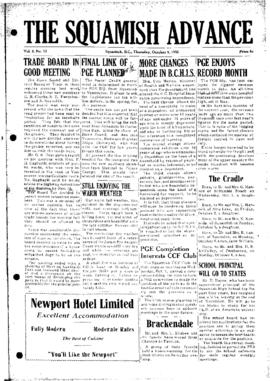 Squamish Advance: Thursday, October 9, 1952