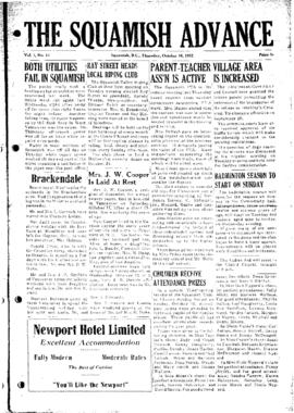 Squamish Advance: Thursday, October 16, 1952