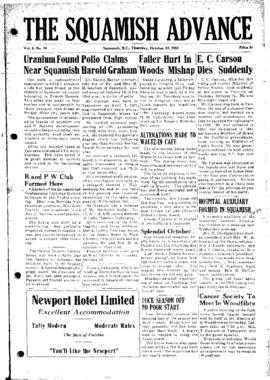 Squamish Advance: Thursday, October 23, 1952