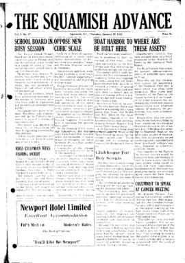 Squamish Advance: Thursday, January 29, 1953