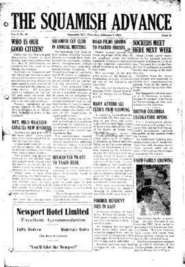 Squamish Advance: Thursday, February 5, 1953