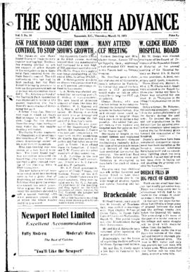 Squamish Advance: Thursday, March 12, 1953