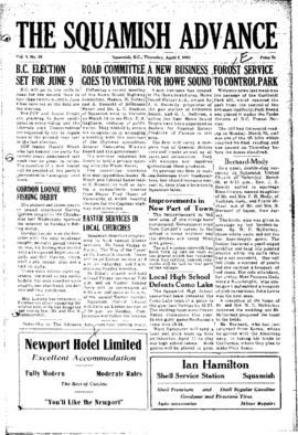 Squamish Advance: Thursday, April 2, 1953