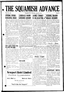 Squamish Advance: Thursday, April 30, 1953