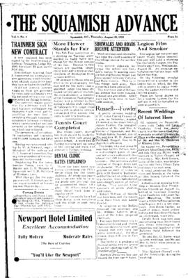 Squamish Advance: Thursday, August 20, 1953