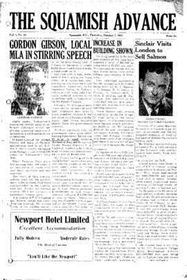 Squamish Advance: Thursday, October 1, 1953