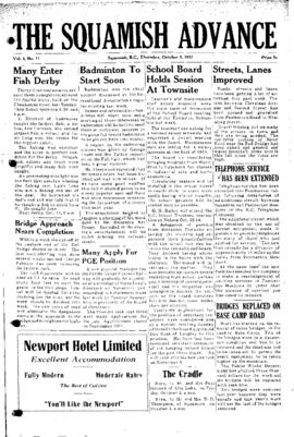 Squamish Advance: Thursday, October 8, 1953
