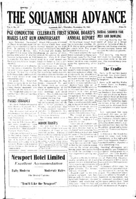 Squamish Advance: Thursday, November 19, 1953