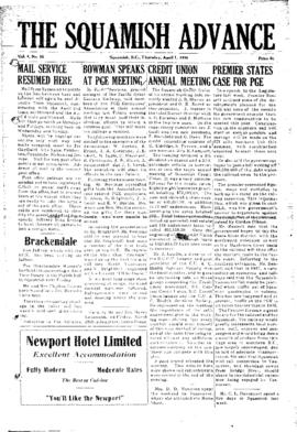 Squamish Advance: Thursday, April 1, 1954