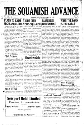 Squamish Advance: Thursday, April 22, 1954