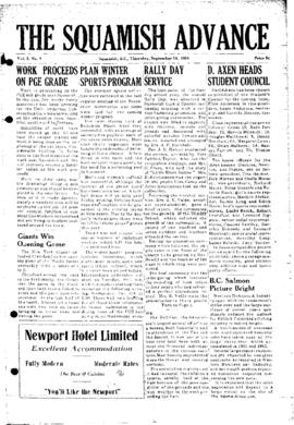 Squamish Advance: Thursday, September 30, 1954