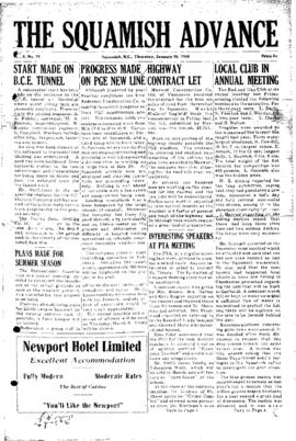 Squamish Advance: Thursday, January 20, 1955