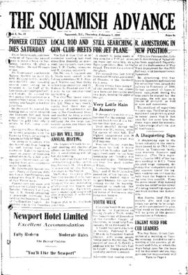 Squamish Advance: Thursday, February 3, 1955