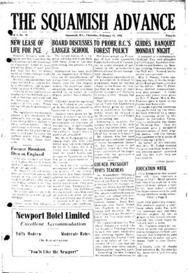 Squamish Advance: Thursday, February 24, 1955