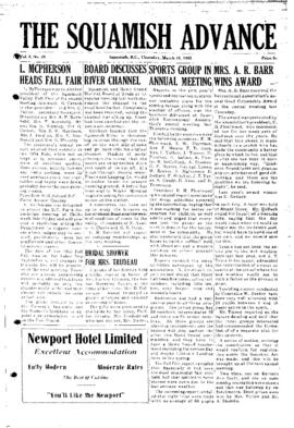 Squamish Advance: Thursday, March 10, 1955