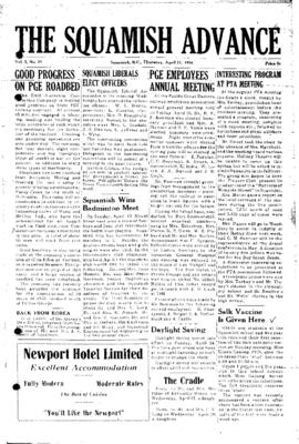 Squamish Advance: Thursday, April 21, 1955
