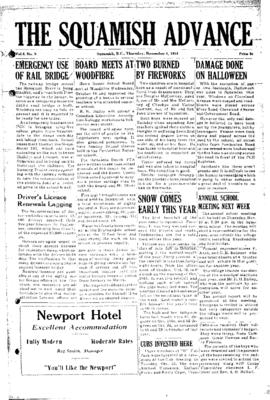 Squamish Advance: Thursday, November 3, 1955