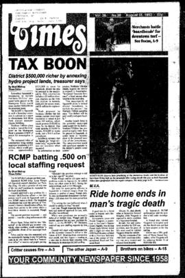 Squamish Times: Tuesday, August 18, 1992