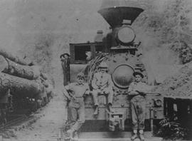In front of logging locomotive