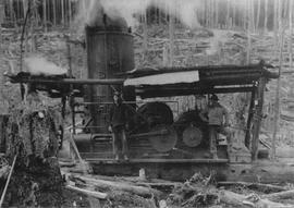 Steam donkey along Cheekye at Yapp's Logging Camp