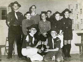 Boy Scout troop with Challenge Trophy