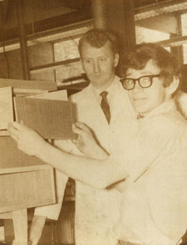 Two men (including Billy Keir?) and a filing cabinet