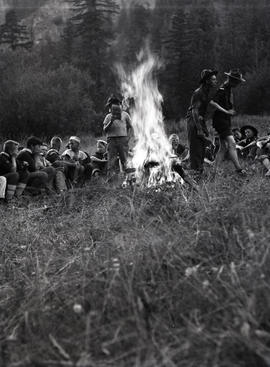 Campfire at Scout camp