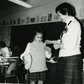 Woman and girl in classroom