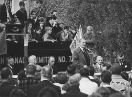 Premier Bennett presenting the No. 2 locomotive