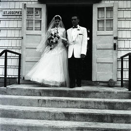 Bride and groom at St. Joseph's Church